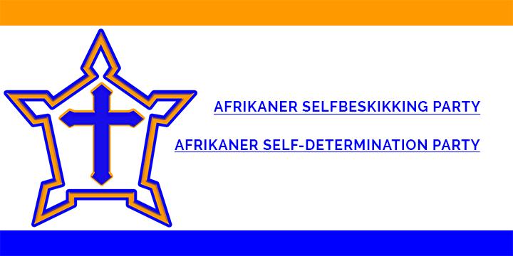 Afrikaner Selfbeskikking Party dek foto is die volle kenteken van die ASP wat die naam van die Party in beide Afrikaans en Engels uitbeeld, met die kasteel embleem aan die linkerkant van die skrif. Aan die bo en onderkant van die figuur is twwe bande. Diie boonste band is oranje en die onderste band is blou. Hierdie kleure simboliseer ons Nederlandse herkoms in die sin dat dit ook die kleure van die Nederlandse Prinse vlag was en die basis was van die vlag van die Republiek van Suid-Afika